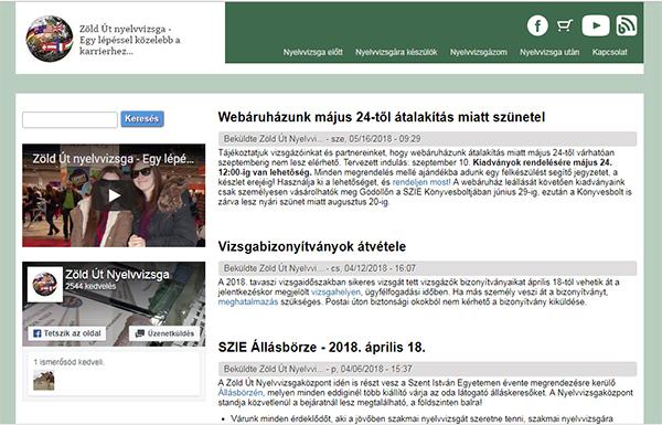 Zöld út nyelvvizsga weboldal